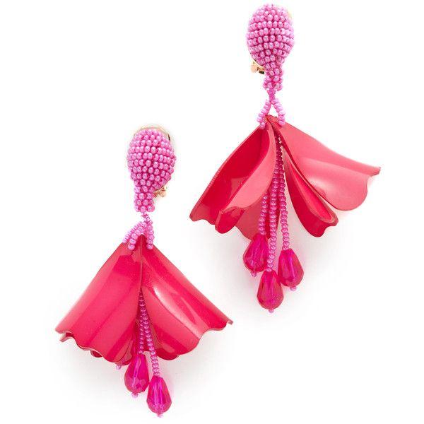 Impatiens flower drop earrings - Pink & Purple Oscar De La Renta 7V9Dl6