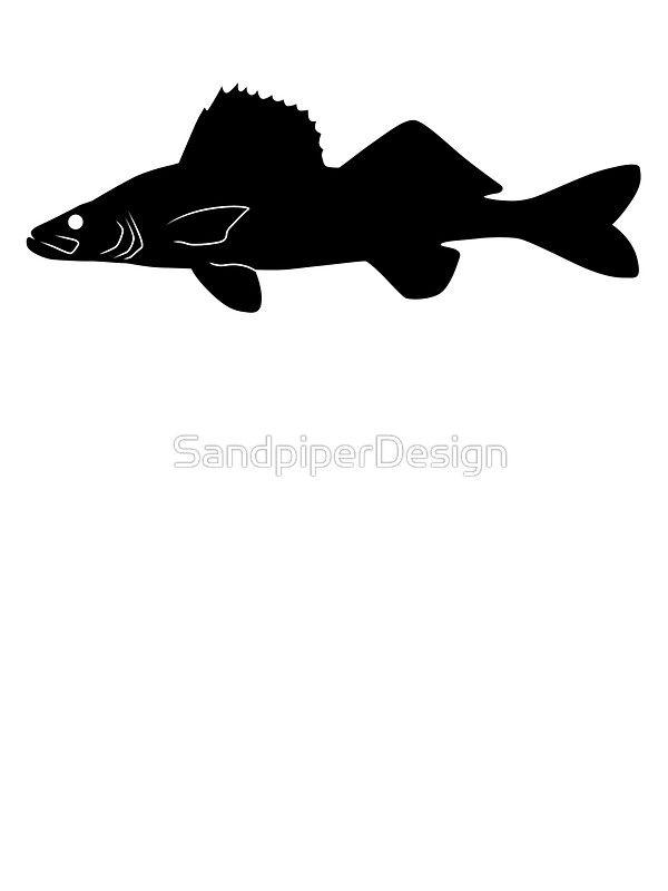 Walleye Pike Fish Silhouette Black Sticker By Sandpiperdesign Fish Silhouette Pike Fish Black Stickers