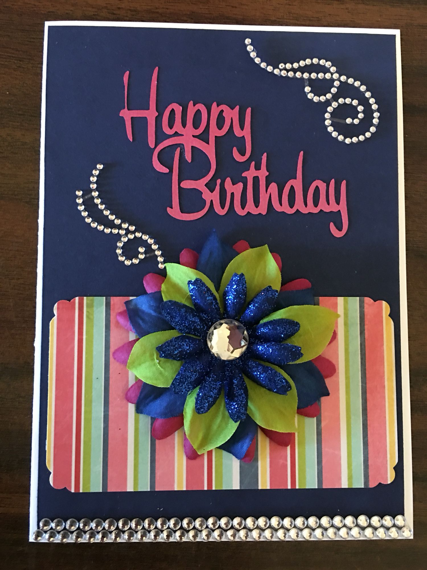 Navy Blue Happy Birthday Card Cards I Have Made Pinterest