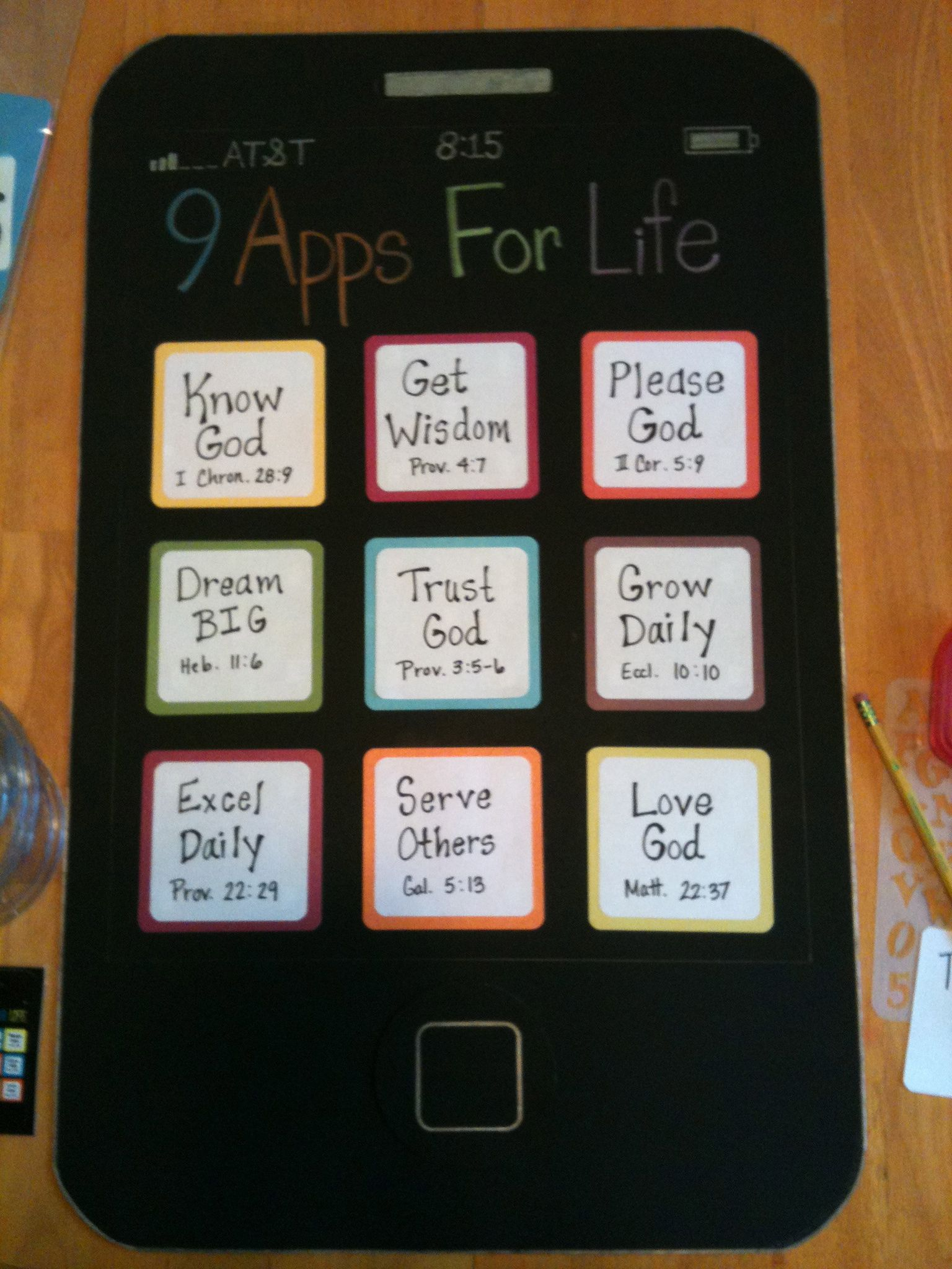 She Made This Iphone Out Of Black Poster Board For Her Bible Class