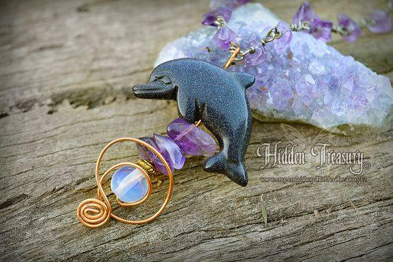 Dolphin Necklace with Goldstone, Amethyst and Opalite - pendant- unique handmade ooak- fantasy- goth- wedding- bridal- charm-hidden treasury