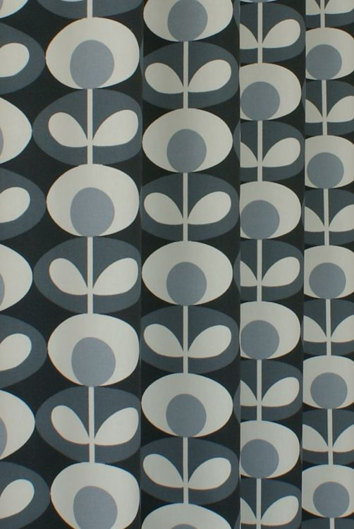 Oval Flower Cool Grey Curtain Fabric Gorgeous Orla Kiely