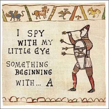 Right on target the perfect way to celebrate the 950th birthday of funny card by hysterical histories i spy with my little eye something beginning with a greeting card with a funny cartoon showing king harold playing a tr m4hsunfo