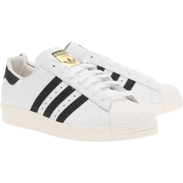 ADIDAS ORIGINALS Superstar 80s White Black    Flat leather sneakers found on  Polyvore featuring shoes c013ea01f