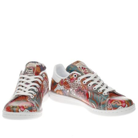 white & red stan smith floral, part of the womens adidas trainers range  available at schuh