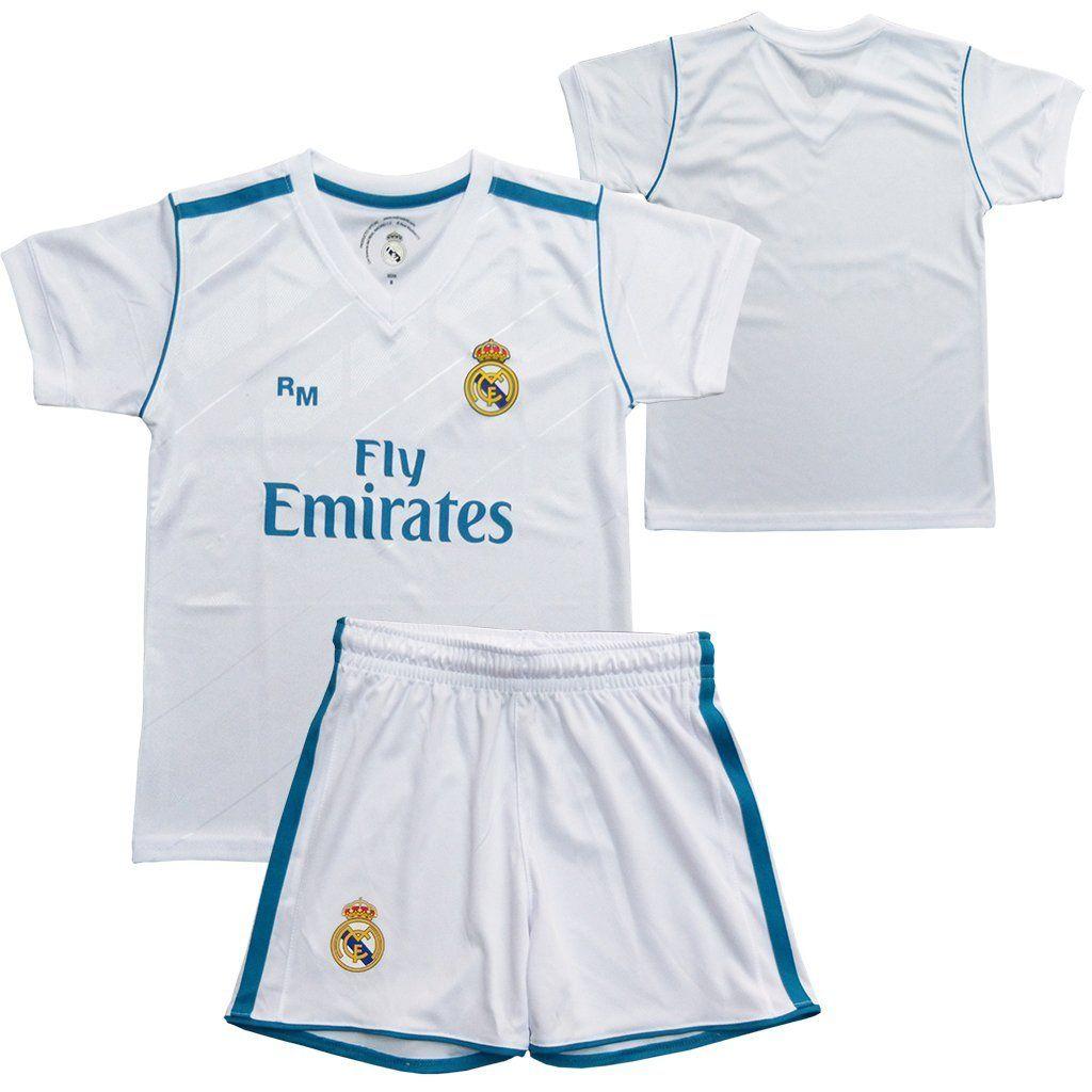 80d40de4ac1df Conjunto - Kit 1ª Equipación Replica Oficial REAL MADRID 2017-2018 Sin  Dorsal LISO -