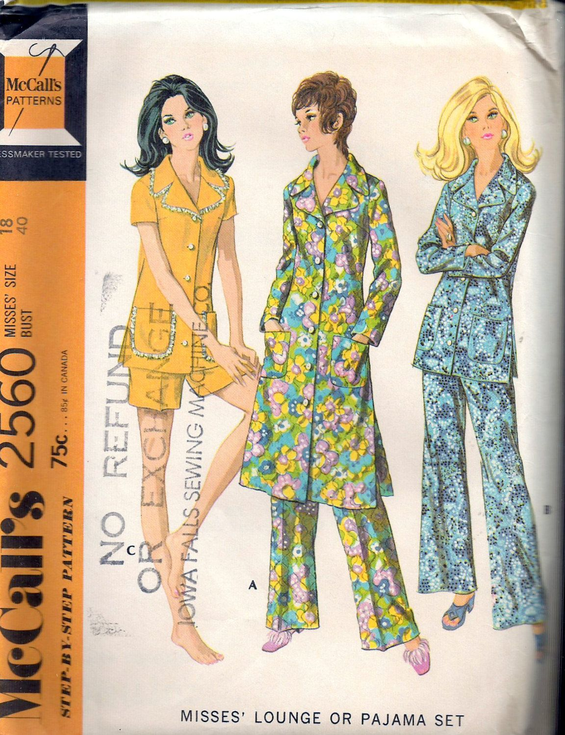 "Vintage 1970 McCall's 2560 Retro Lounge or Pajama Set Sewing Pattern Size 18 Bust 40"" UNCUT by Recycledelic1 on Etsy"