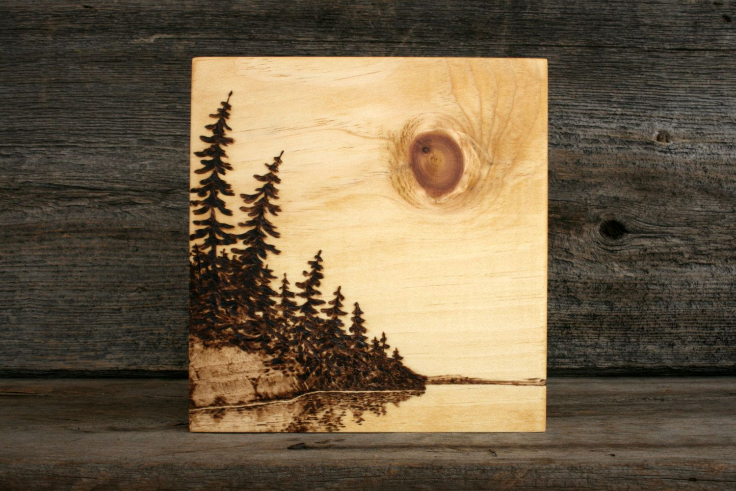 Lakeside sun art block wood burning by twigsandblossoms on for Mural art on wood