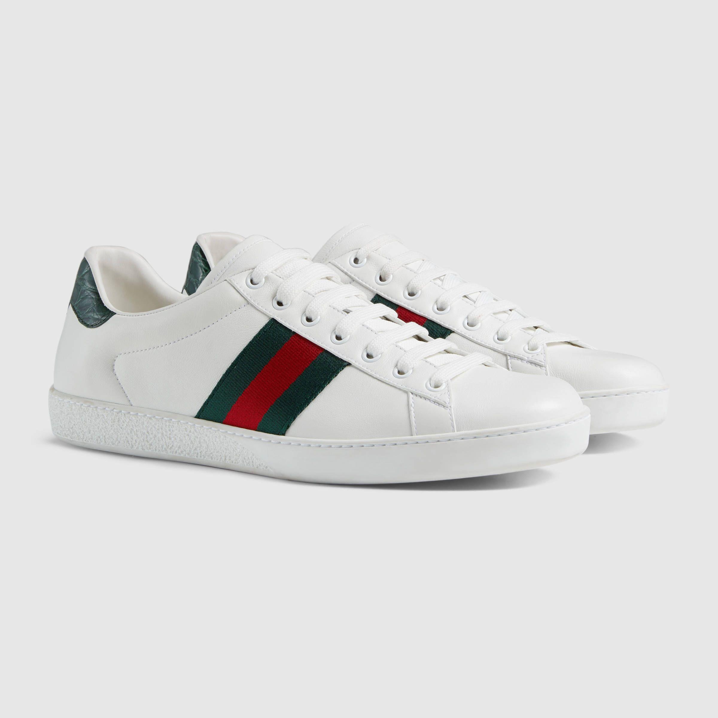 8df1e5ee90761 Gucci Men leather sneaker w web