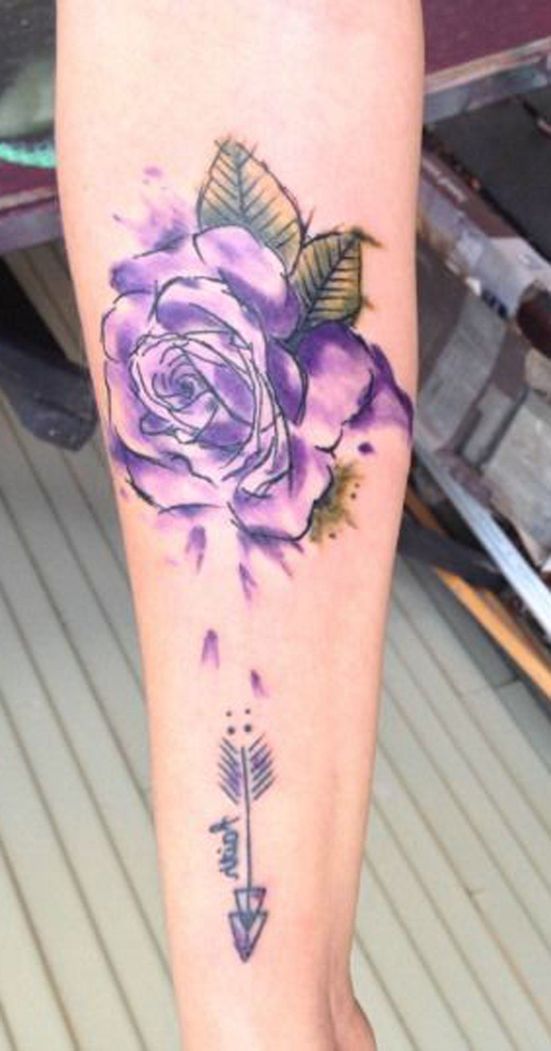 Watercolor Rose Forearm Tattoo Ideas For Women Small Unique