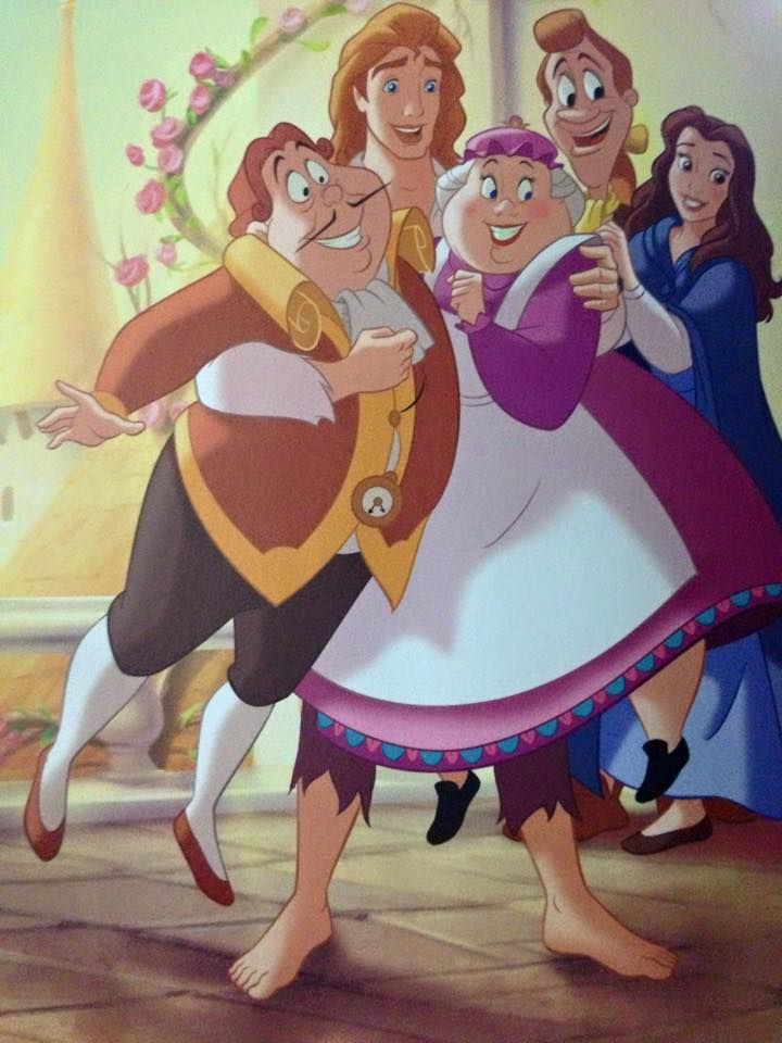 Belle With Prince Adam Lumiere Cogsworth And Mrs Potts
