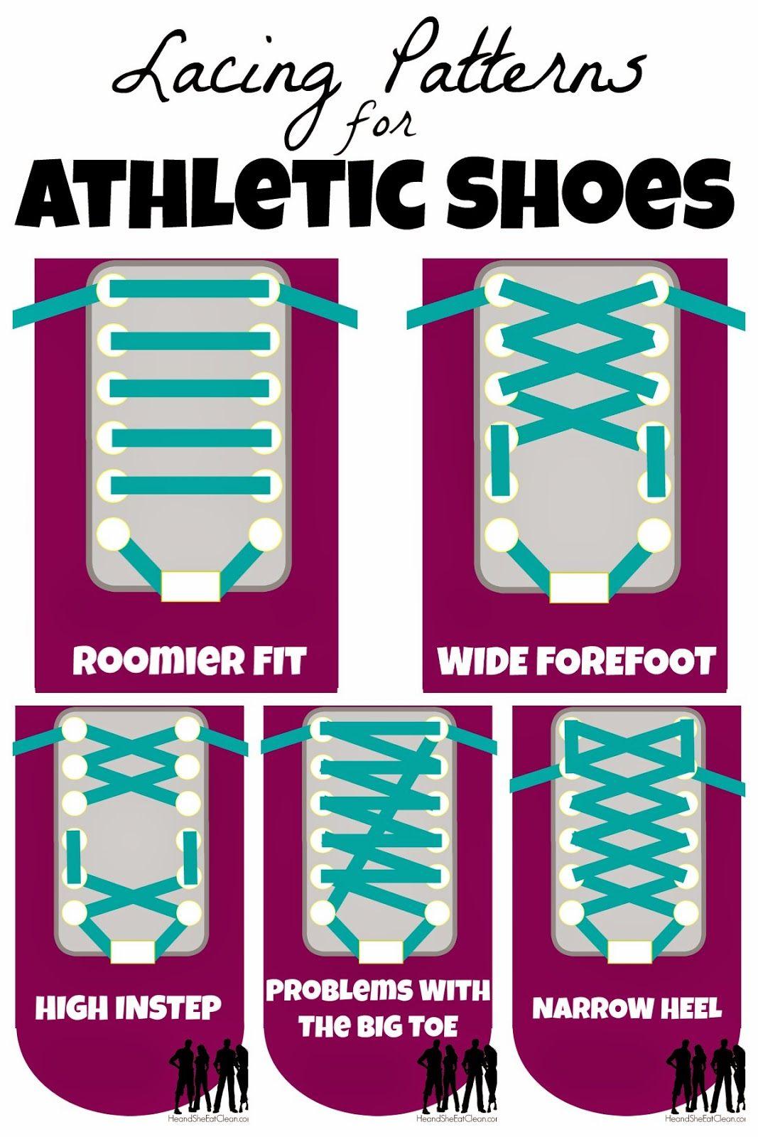 Shoe lace patterns, Workout shoes