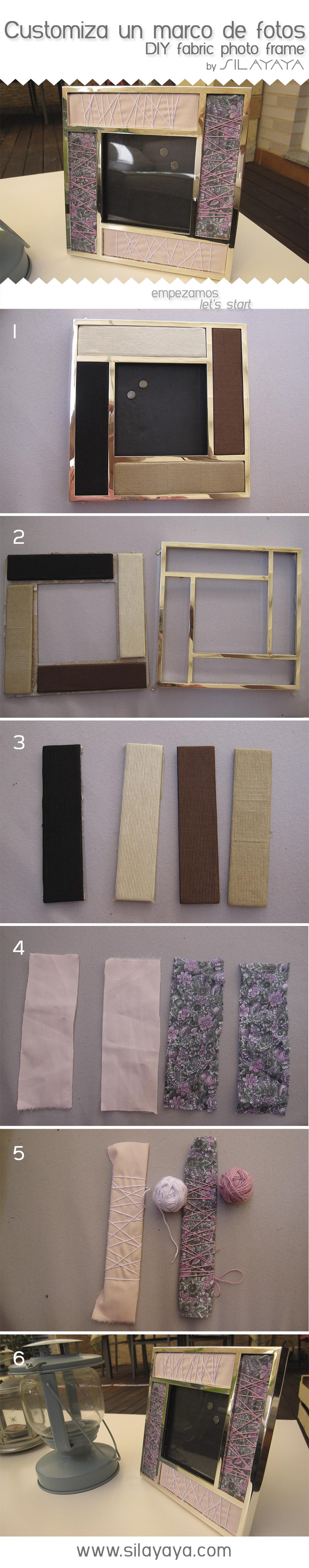 DIY photo frame with fabric and yarn. Tutorial como personalizar un ...