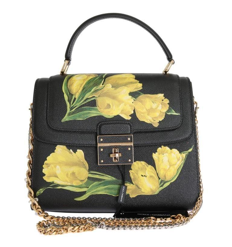 Black ROSALIA Leather Yellow Tulip Print Bag  a22821fecd9e0