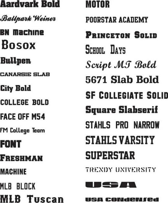 examples of athletic fonts
