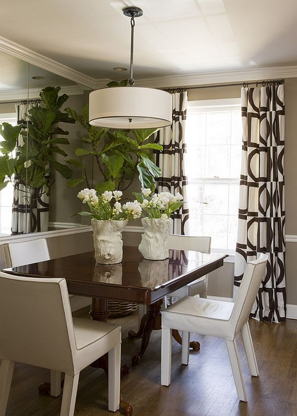 Small Dining Rooms That Save Up On Space   Me gusta   Pinterest     Lovely drapes and a large pendant add style to the small space