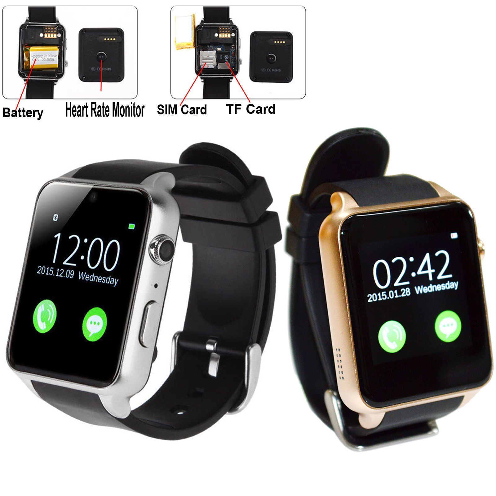 Touch Screen Bluetooth Smart Watch Heart Rate Camera For Samsung