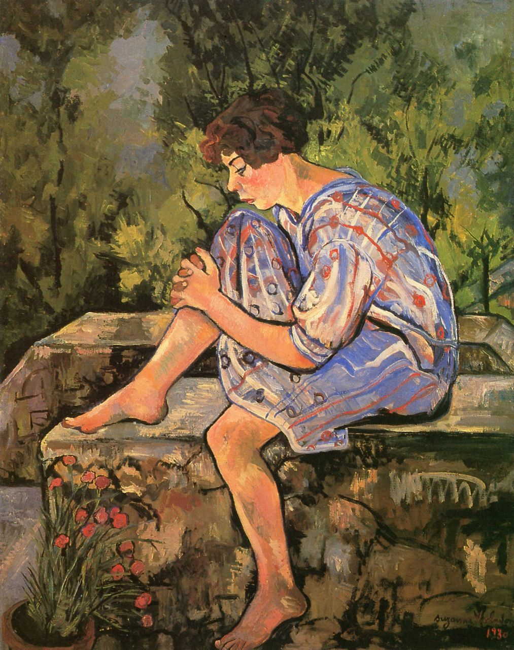 La Chambre Bleue Valadon The Athenaeum Young Woman Seated On A Low Wall Suzanne Valadon