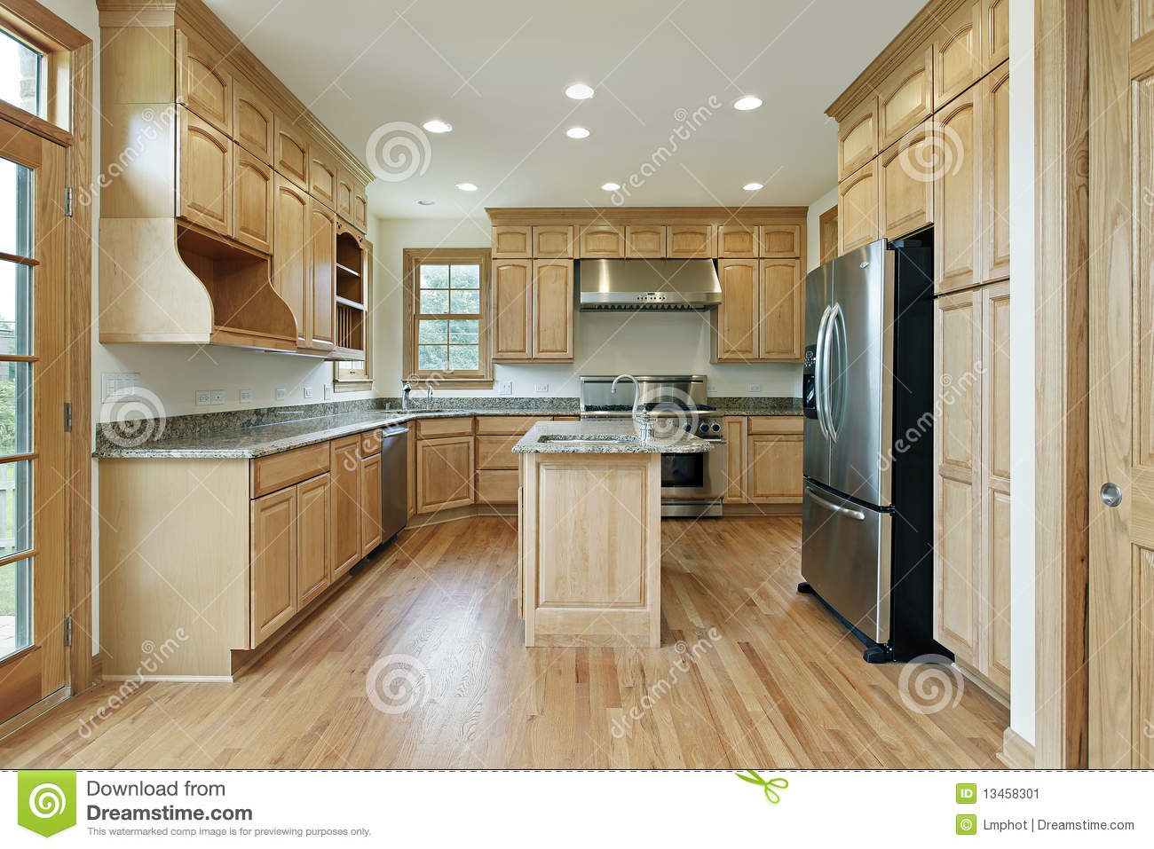 kitchen with oak wood cabinetry stock image image from Oak Wood ...