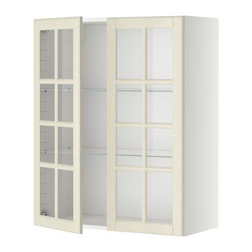 METOD Vægskab med hylder/2 vitrinlåger - Bodbyn råhvid, hvid, 80x100 cm - IKEA