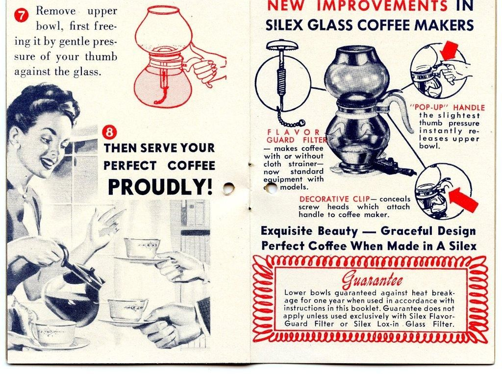 Silex Vacuum Coffee Maker Instruction Booklet Page   Coffee