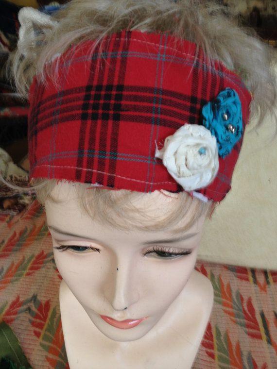 Scrap fabric Headbands w/fabric rosettes