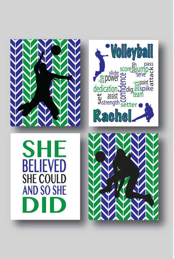 set of 4 prints volleyball decor volleyball art by mdesigncompany - Volleyball Bedroom Decor