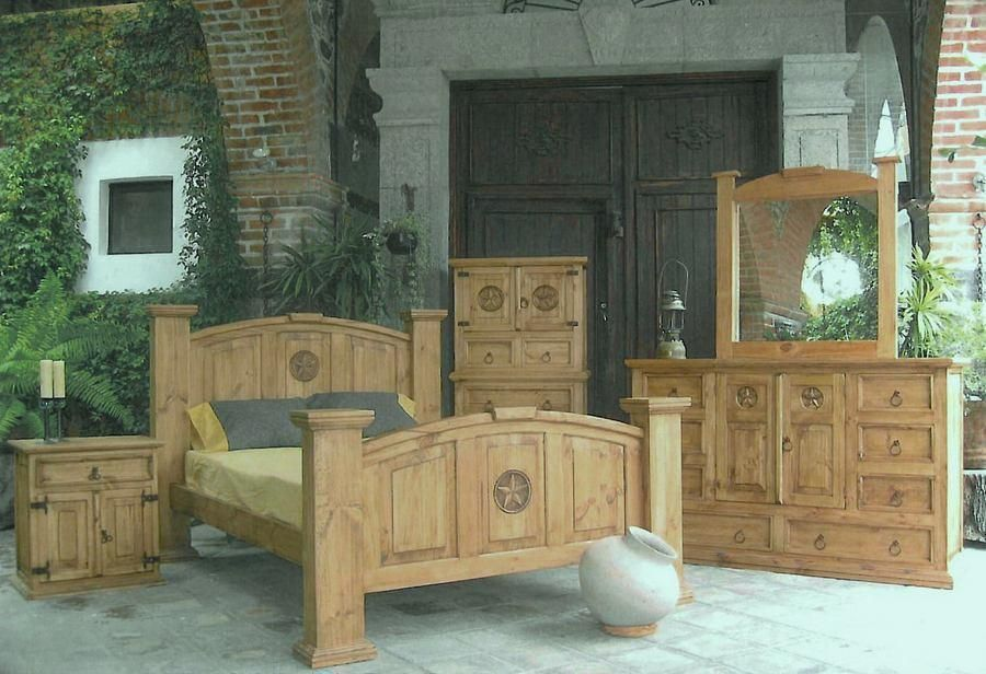 Rustic bedroom set natural carved bold wood queen bed furniture