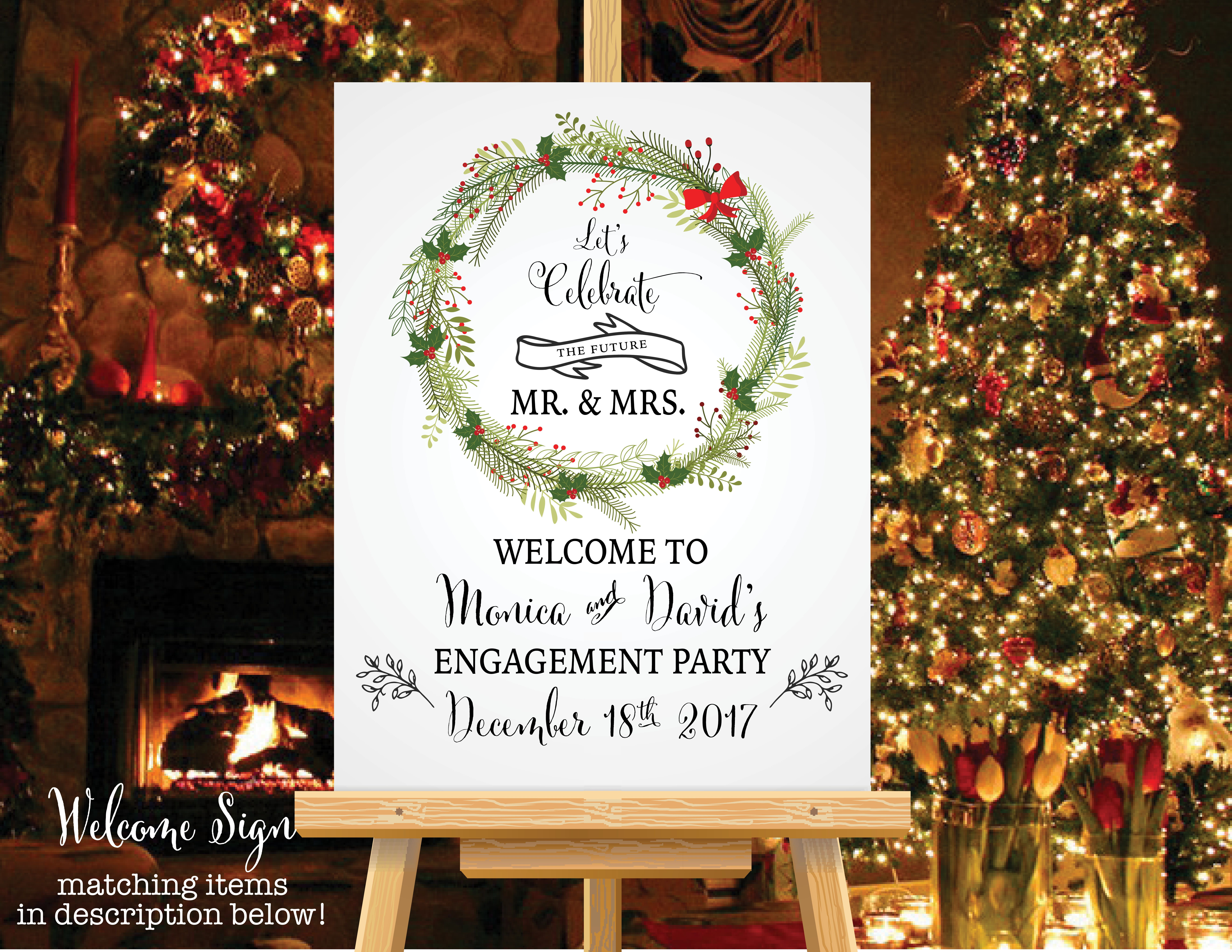 Christmas Engagement Party Ideas Part - 32: Christmas Engagement Party Welcome Sign - $8