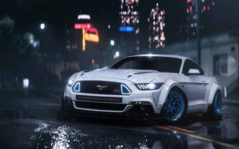 White Ford Mustang Video Game Need For Speed Payback