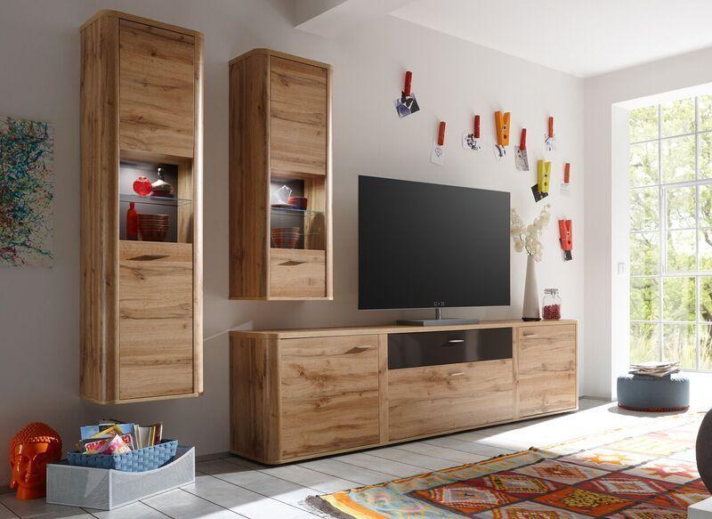 Wohnwand Wotan Eiche\/ Terra Hochglanz Woody 91-00535 Holz Modern - wohnzimmer eiche modern