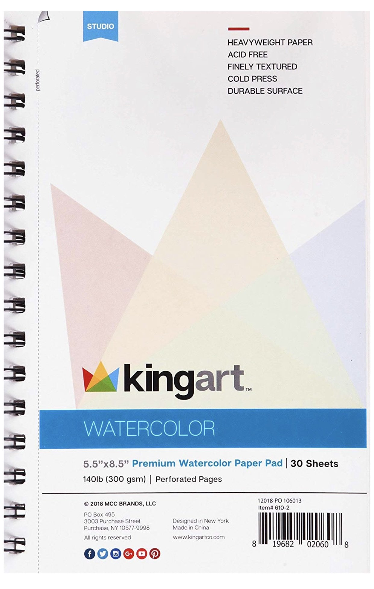 Watercolor Paper Pads 2 Pack Micro Perforated 140 Lb 300g 5 5