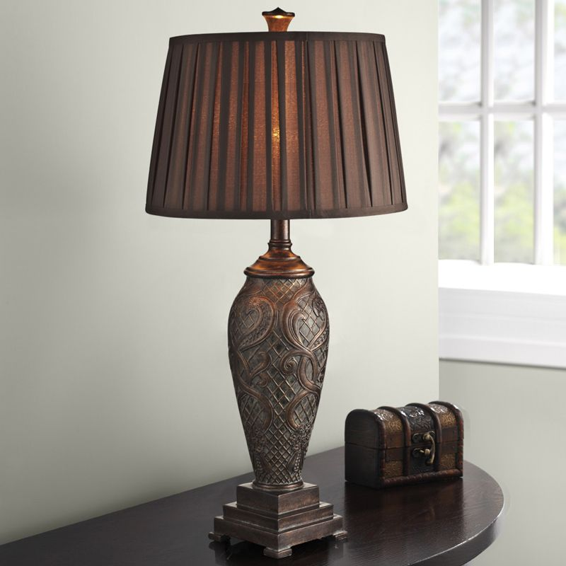 Retro Bed Room Table Lamp Luxurious Fabric Lampshade Living Decoration Abajur For Bedroom