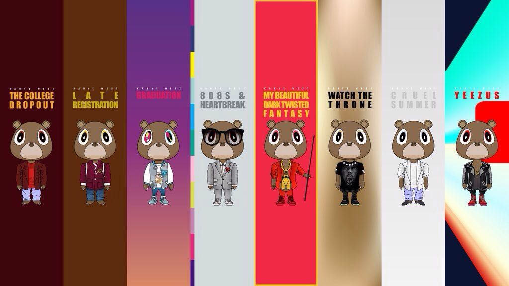 Can Someone Add The Life Of Pablo To This Wallpaper R Wallpapers Kanye West Graduation Bear Kanye West Wallpaper Bear Wallpaper