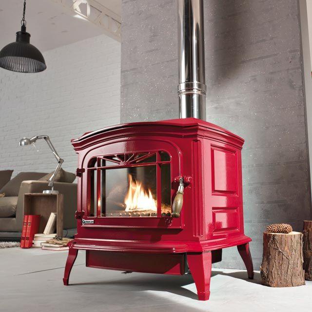 poele a bois rouge poele bois en 2019 poele a bois poele a bois fonte et poele cheminee. Black Bedroom Furniture Sets. Home Design Ideas