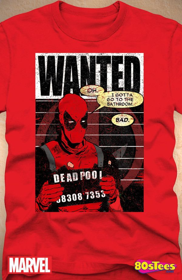 ed84be3afcf Deadpool Mugshot T-Shirt  Marvel Comics Deadpool Mens T-Shirt
