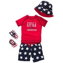 Red Personalized 1st 4th of July Bodysuit Girls or Boys  Royal Or White First July Fourth Firecracker
