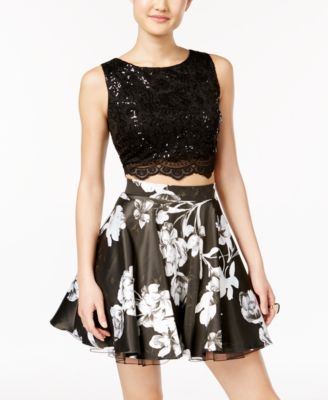 0ad9a9e6a4 City Studios Juniors  2-Pc. Sequin Lace Floral-Print Dress