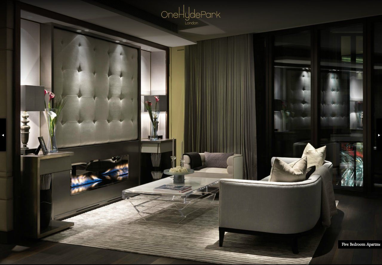 One Hyde Park London Love This I Don T Need More Than One Sofa Two Chairs And A Coffee Table I Like The Location Luxury Interior Home Interior Design Home