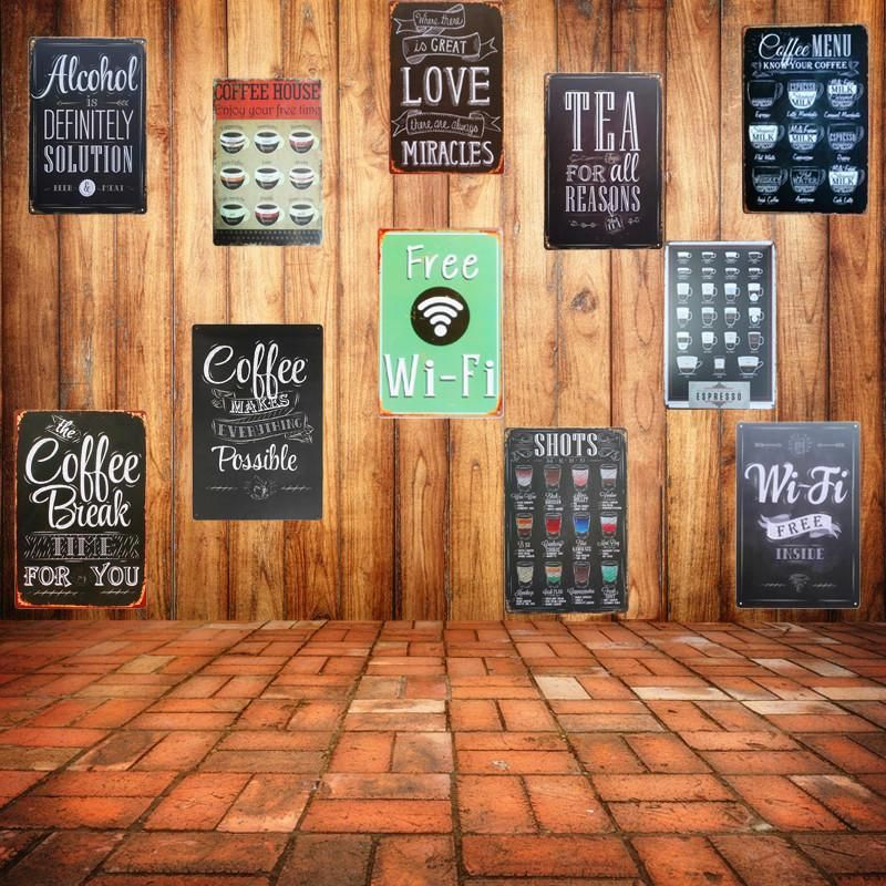 Brand Name Denim Meow Style Retro And Nostalgic Old Furniture Material Metal Model Number A755 Shape Recta With Images Vintage Wall Decor Metal Wall Sign Vintage Cafe