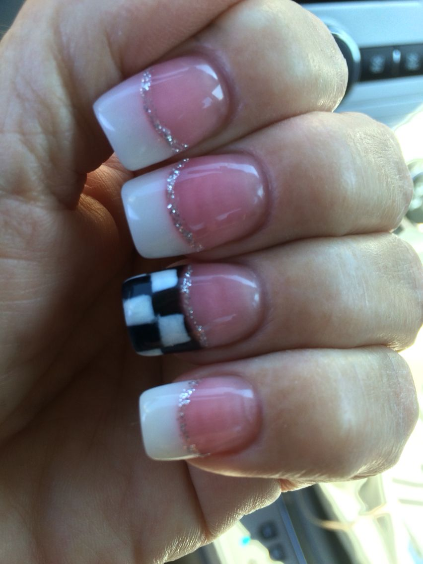 My Take On The Checkered Flag Ready For Nhra Racing Nails Chevy Nails Flag Nails