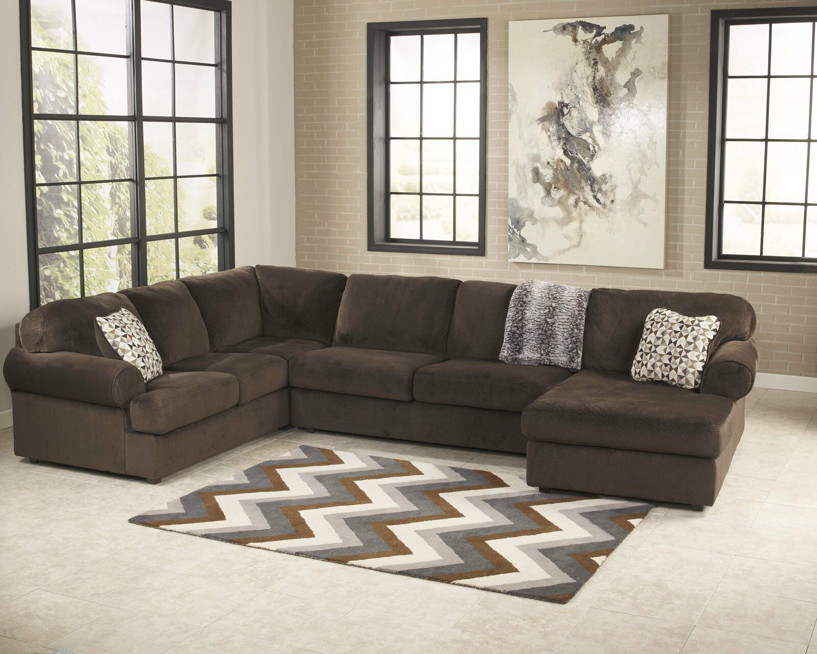 Large Contemporary Brown Microfiber Living Family Room Set Sofa Sectional Ig2y Microfiber Co In 2020 Sectional Sofa Living Room Sectional Sectional Sofa With Chaise