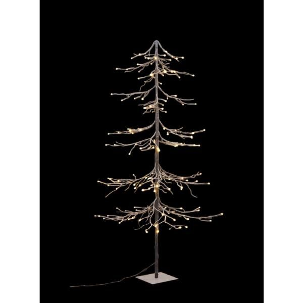 Lightshare 6 Ft Pre Lit Led Fir Snow Tree With 144 Warm White Lights Xxs6ft The Home Depot Metal Ornament Tree White Light Led Lights