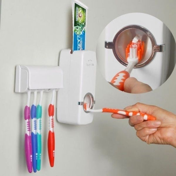 Suction Cup 2 Toothpaste 5 Toothbrush Holder Wall Mount Stand Organiser Tool