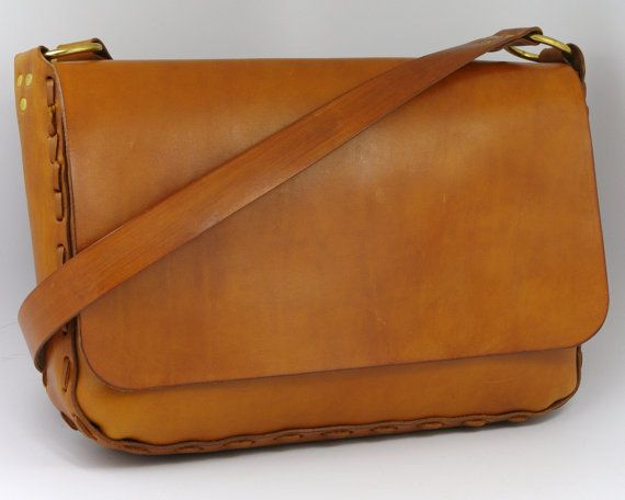 Saddle Tan Hand Laced Leather Messenger Bag - CLEARANCE | Leather ...