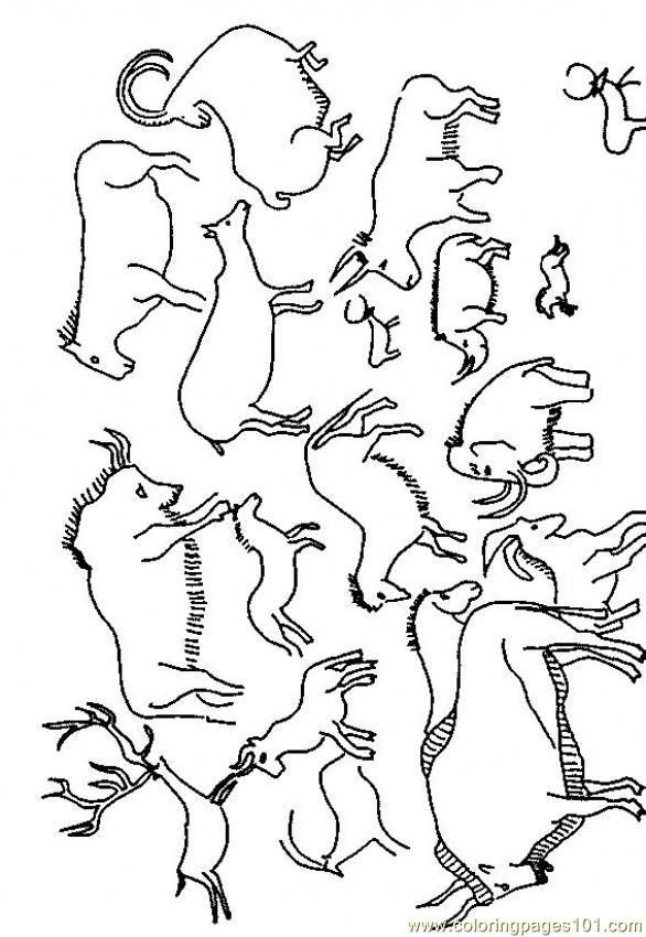 Cave Painting Free Printable Coloring Page