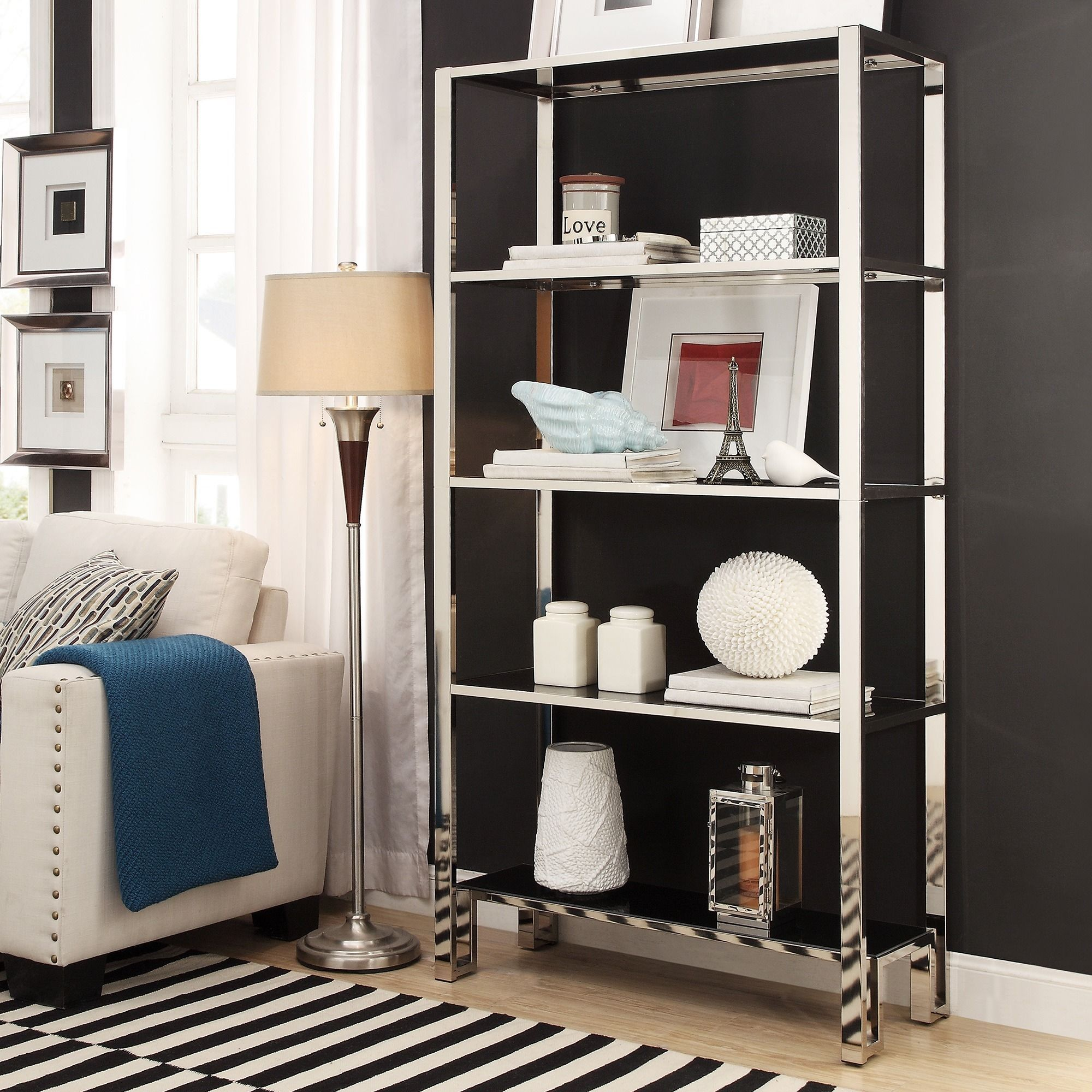 Inspire Q Alta Vista Black + Chrome Metal Single Shelving Bookcase Inches  Single Shelving)