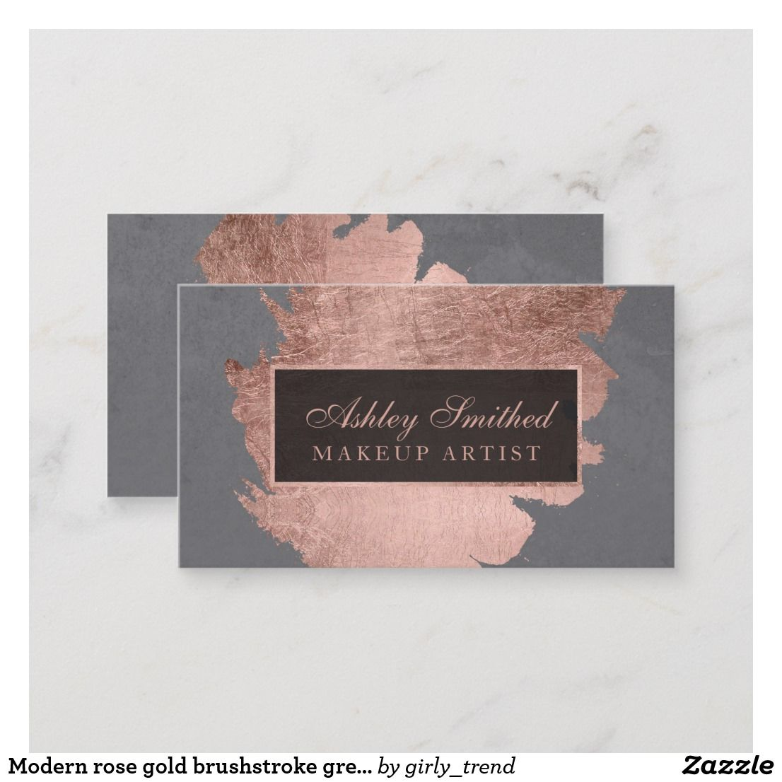 Modern Rose Gold Brushstroke Grey Cement Makeup Business