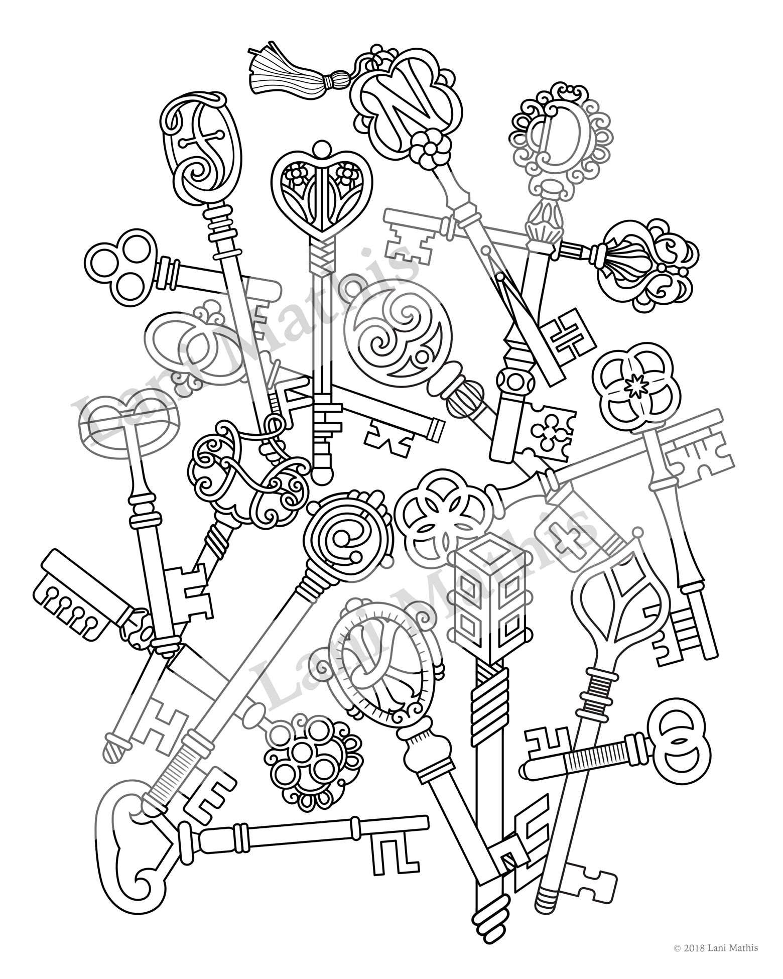 Skeleton Keys Adult Coloring Sheet Coloring Pages