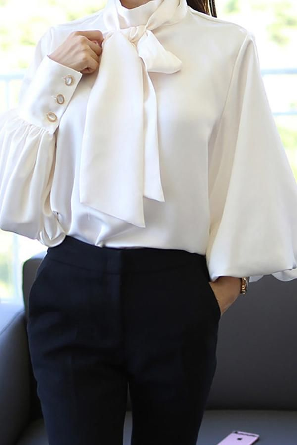 85e131dcd Product Casual Chiffon Bishop Sleeve Pure Colour Shirt Brand Name  Swankmyway SKU 2E35809D451F Gender Women Style
